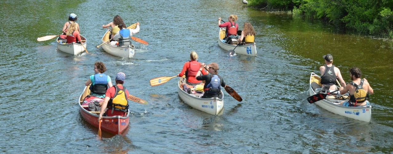 group of staff paddle up the river