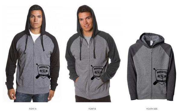 Man modelling grey and black zip-up