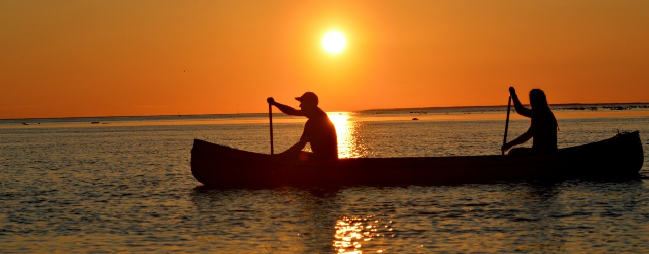 Paddling at sunset